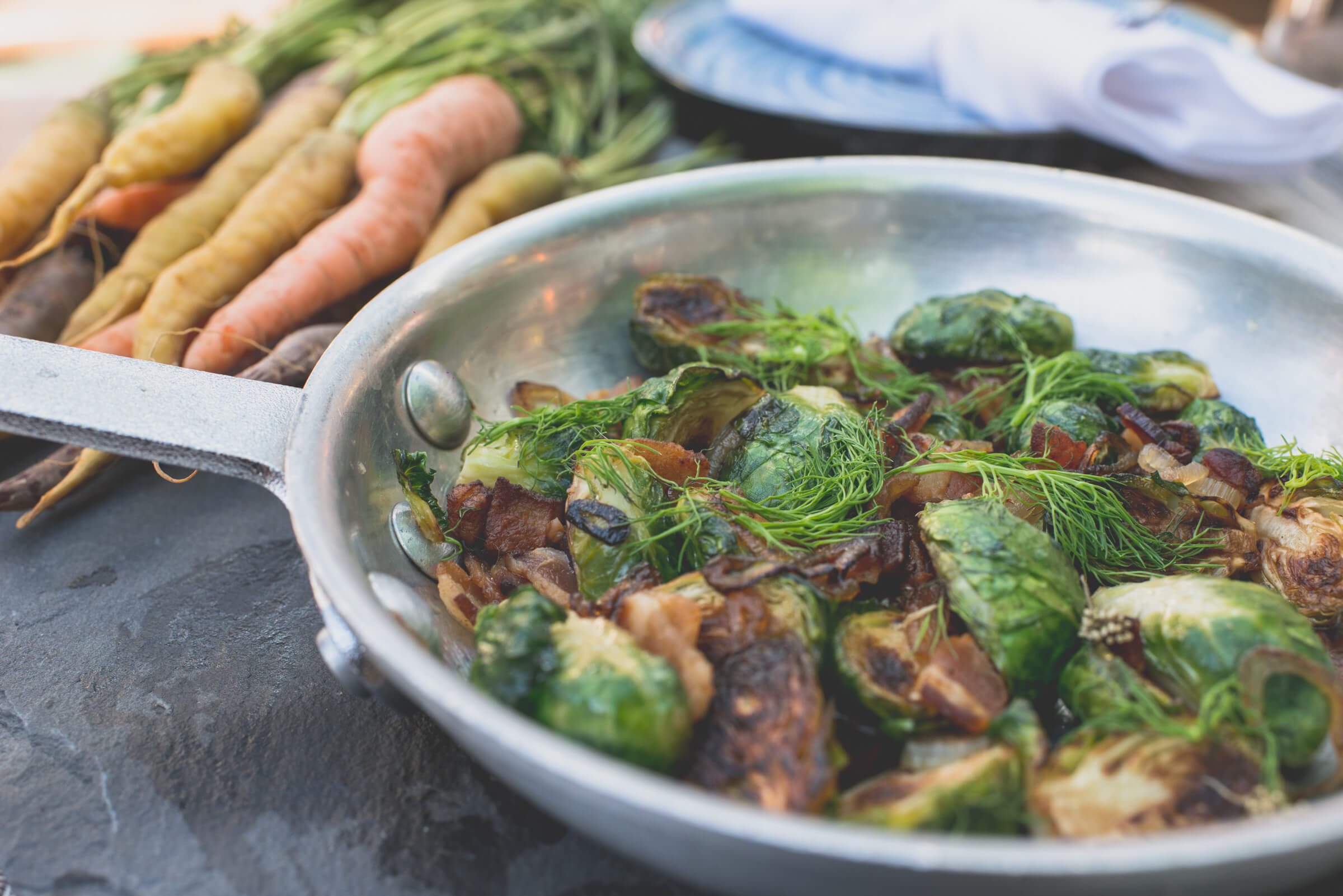 brussel sprouts, thyme, and carrots