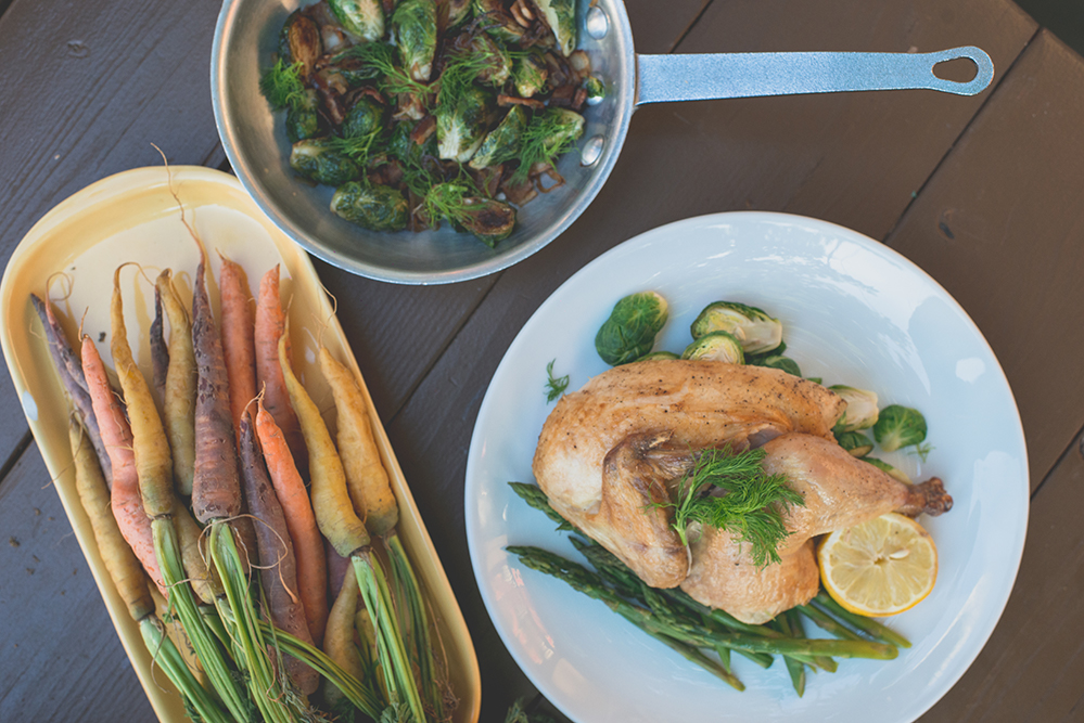 Brussel Sprouts, Carrots and Chicken